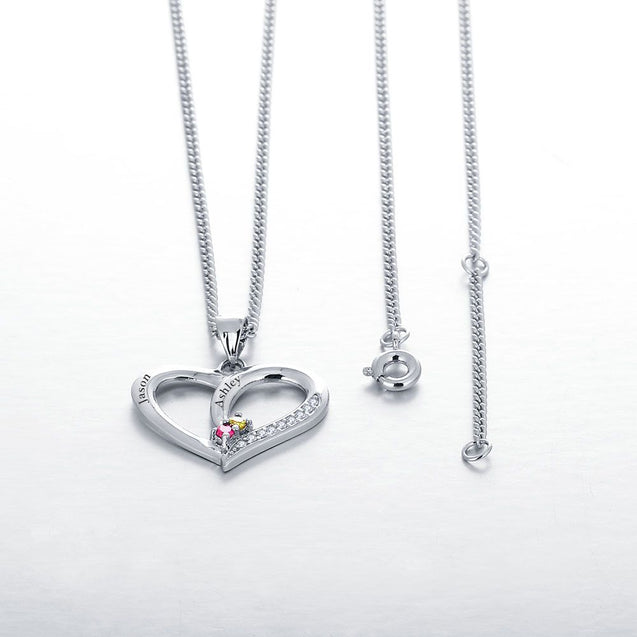 Personalized Heart Pendant Mother Necklace with 2 Birthstones Engraved 2 Names