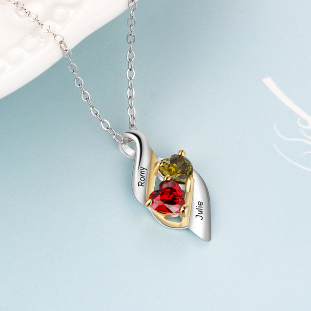 Love Necklace with 2 Birthstones Engraved 2 names Personalized Birthstone Necklaces Sterling Silver