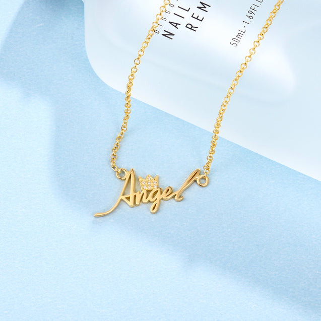 personalized custom name necklace with crown