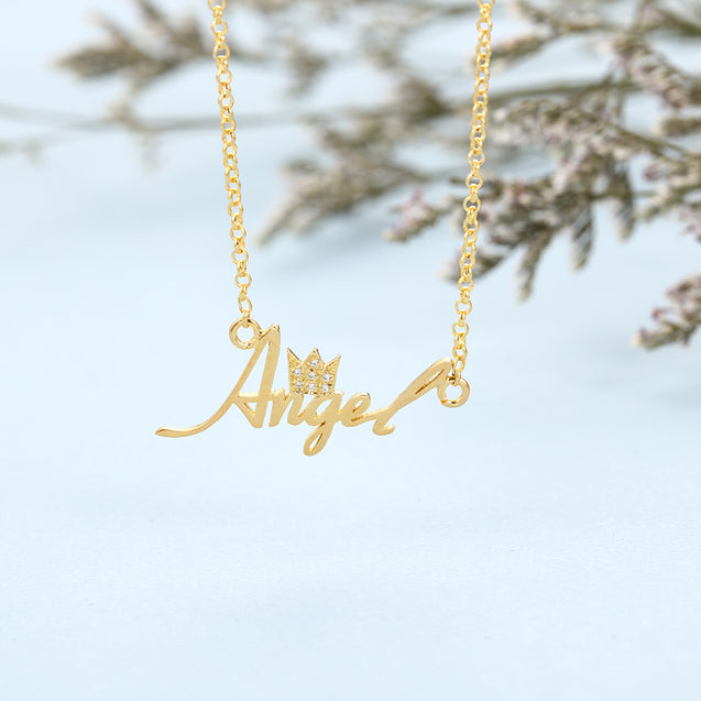 Sterling Silver Crown Name Necklace Personalized Custom Name Necklace Gold