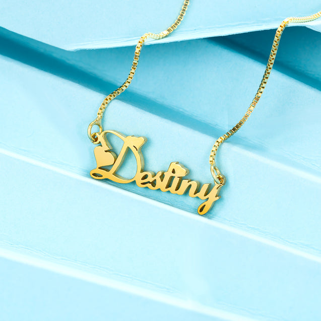 Custom Name Necklace Personalized Pendant with  Box Chain Great Gift For Mother
