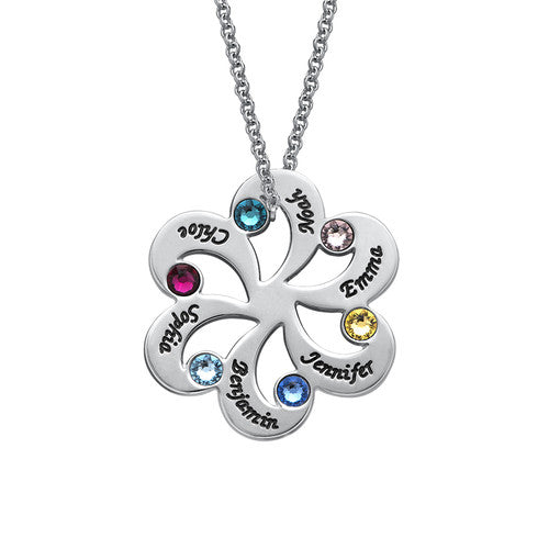Snowflake Pendant Family Necklace Personalized with 6 Birthstone Engraved 6 Names Mother Neckalce