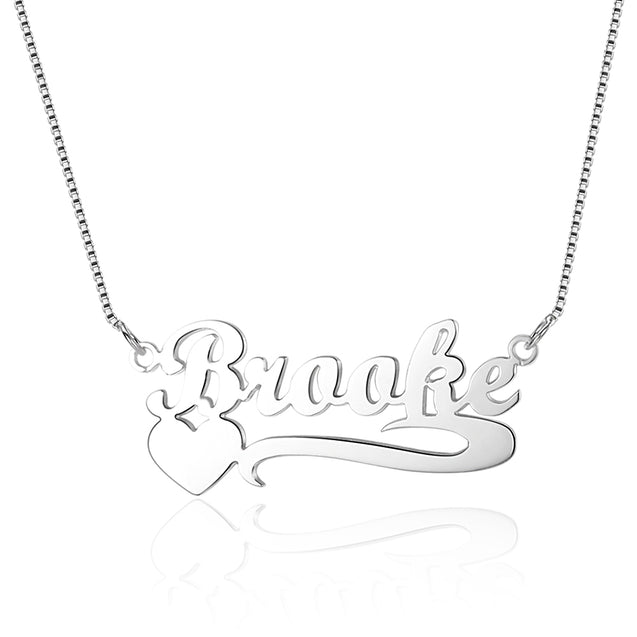 Personalized Engraved Name Necklace with Heart Silver Gift for Daughter Mother