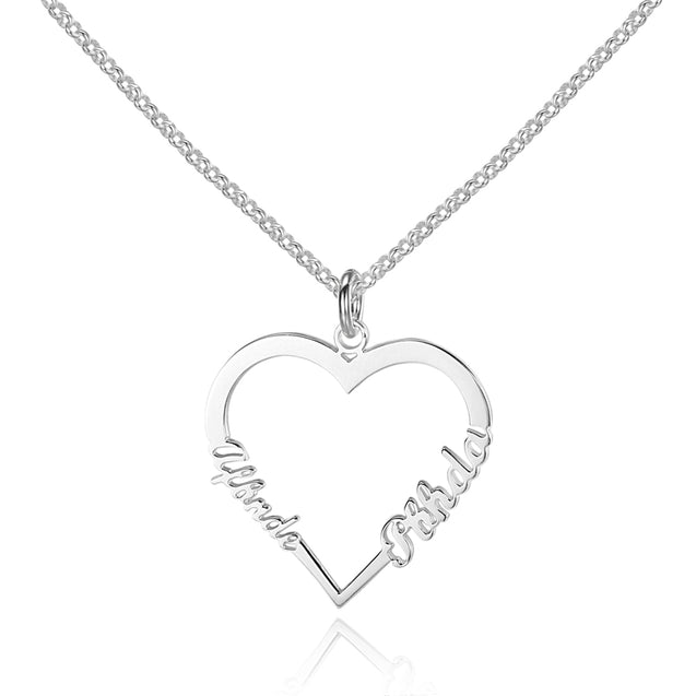 Lover Heart Pendant Custom Name Necklace Engraved With 2 Names Personalized Gift For Mother Daughter