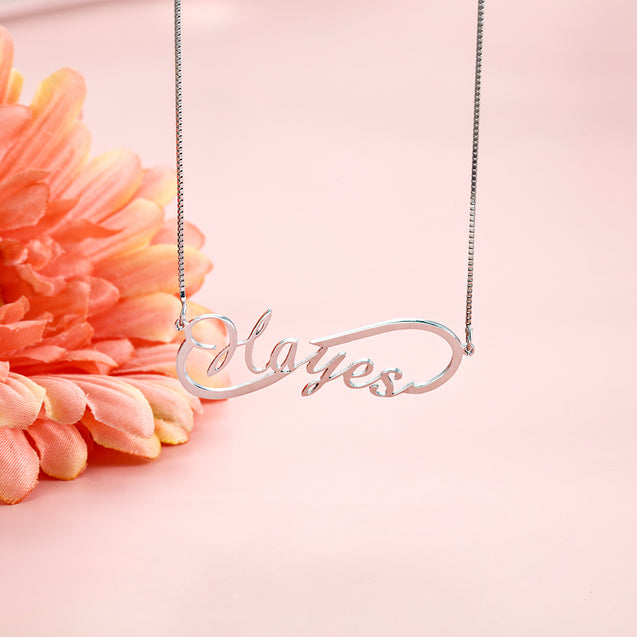 Personalized custom name necklace silver