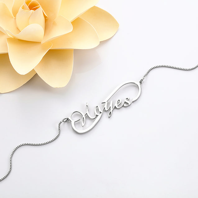 Personalized Infinity 925 Sterling Silver Name Necklace Perfect Mom Gift