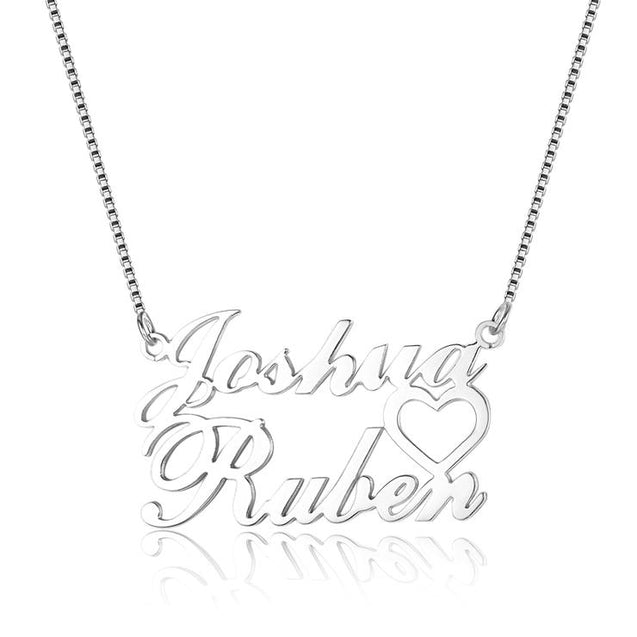 Custom Name Necklace with heart Nameplate Pendant Silver