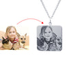 Personalized Square Engraved Silver Photo Necklace Dog Tag Nameplated Pet Pendant Necklace