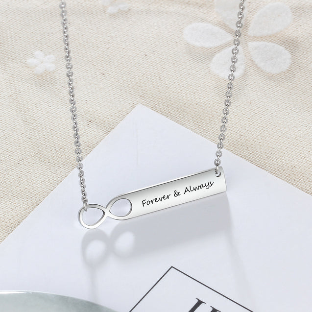 Infinity bar necklace for women pendant personalized gift for girls