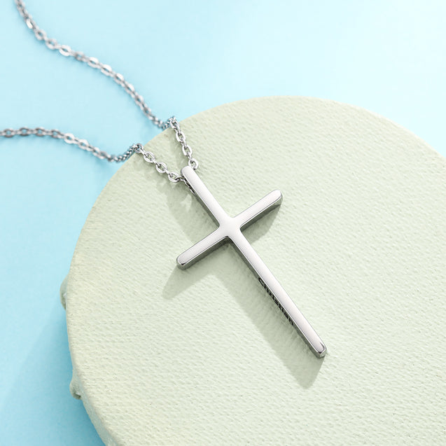 Cross Pendant Necklace For Women Men Engraved Name Personalized Necklace