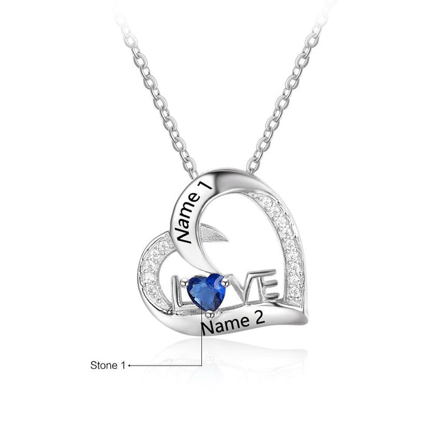 love heart pendant birthstone necklace gift for women silver necklace