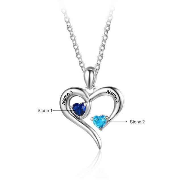 love heart pendant birthstone necklace gift for women engraved names