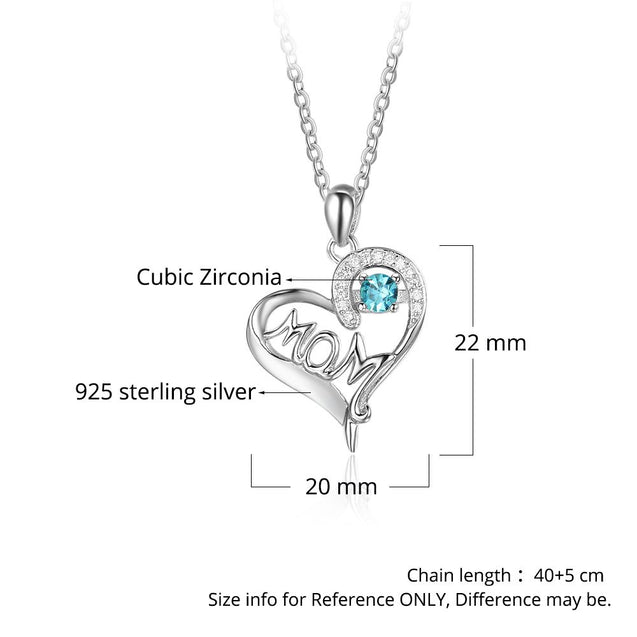 Heart Birthstone Necklace gift for mom silver