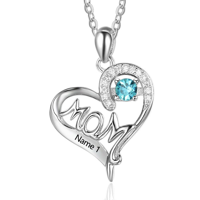 Heart Birthstone Necklace gift for mom