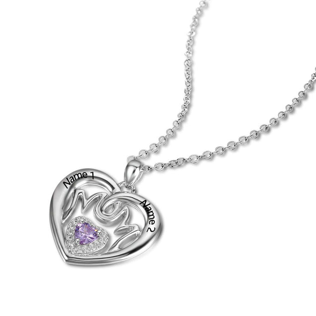 Birthstone Mom Necklace Heart Pendant 1 Stone Engraved 2 Names Personalized Mother Necklace