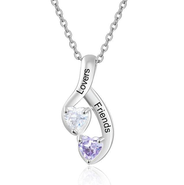 Mother Neckalce 2 Stones Engraved 2 Names Heart Love Necklace perfect Gift For Mom