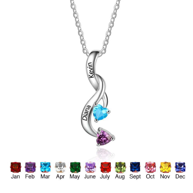 Personalized Birthstone Necklace Mothers Necklace with 2 Stones Engraved 2 Names