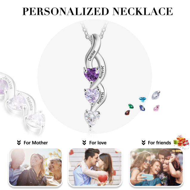 Personalized Mother Necklace with 3 Birthstones Engraved 3 Names Drop Pendant Family Necklace Mother's Day