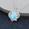 Tow Heart Silver Blue Opal Pendant Necklace