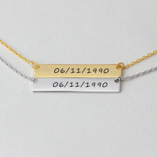 Engraved Name Necklace bar necklace gift for friends