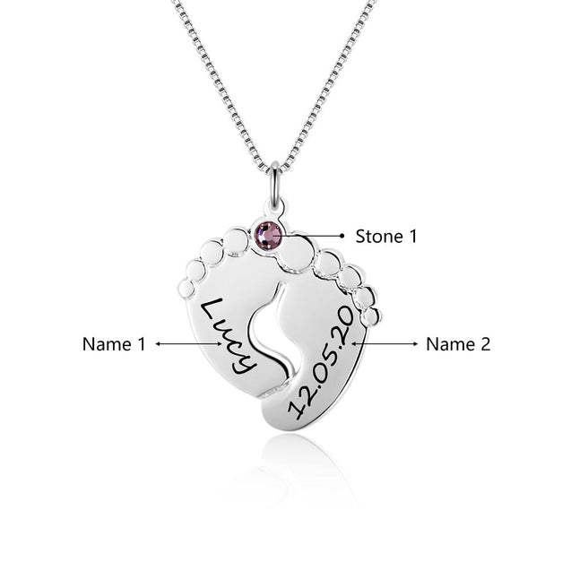 Baby Feet Pendant Necklace with 1 Birthstones Engraved 2 Names