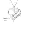 Engraved Two Heart Necklace Personalized Love Necklace with 2 Names Silver