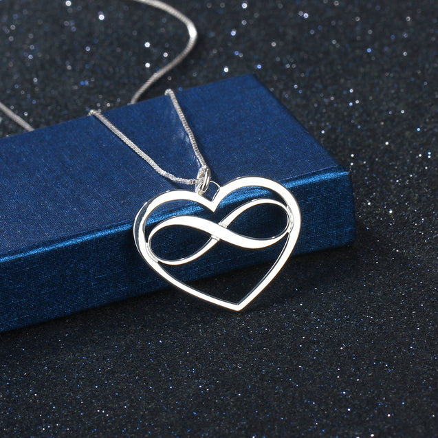 heart infinity pendant necklace personalized engravable name