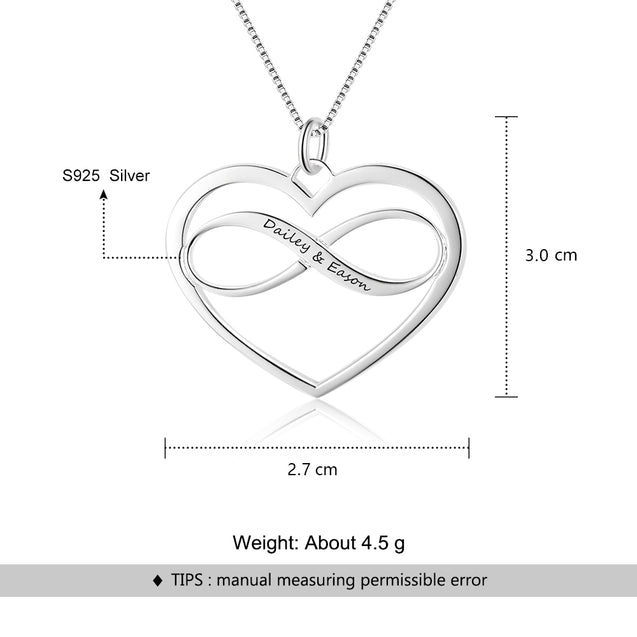 Infinity Heart Necklace Personalized Engraved Name Love Pendant