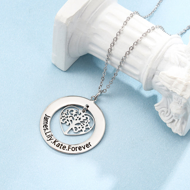 Family Tree Necklace With Heart Pendant Engraved 4 Names Personalized Necklace