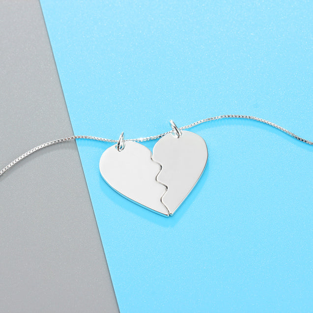 Best Friends Pendant Necklace BFF Puzzle Heart Matching Necklace For Women Broken Heart Necklace Set