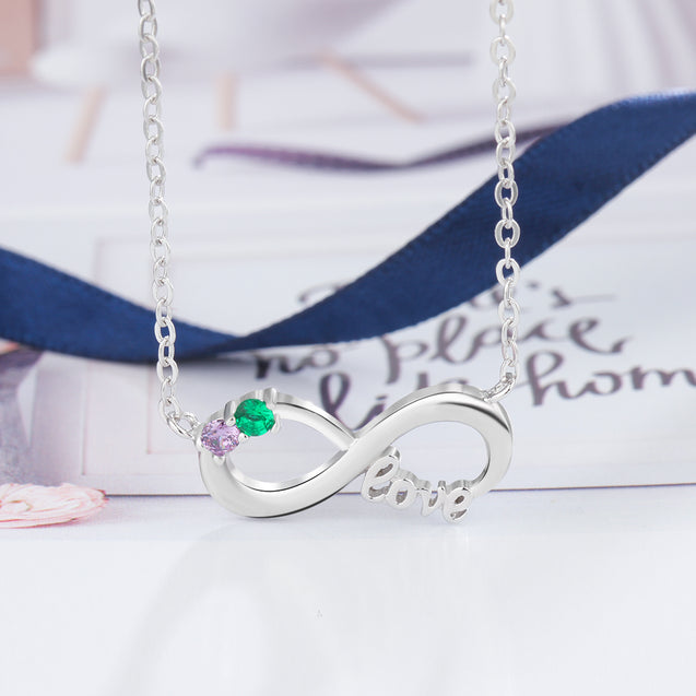 Infinity Necklace 2 Birthstone Love Necklace