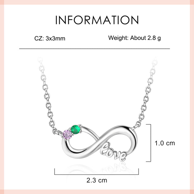 Infinity Necklace 2 Birthstone Sterling Silver Pendant Necklace