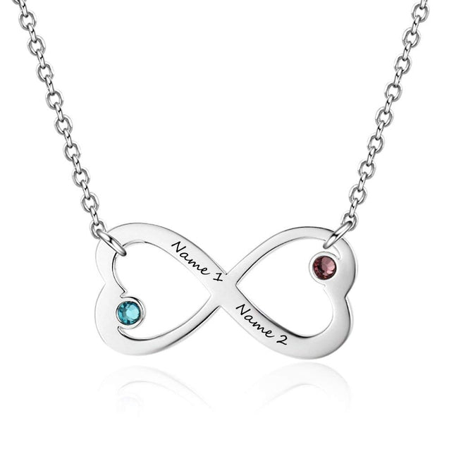 Infinity Heart Birthstone Necklace Engraved 2 Names Personalized with 2 Stone Love Pendant Necklace