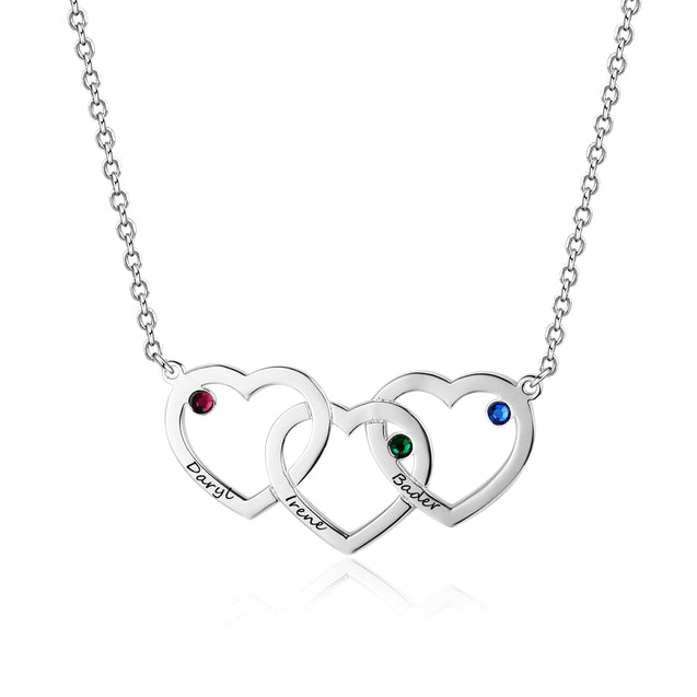 Engraved Intertwined Heart Necklace with 3 Birthstone Personalized Love Necklace with 3 Names