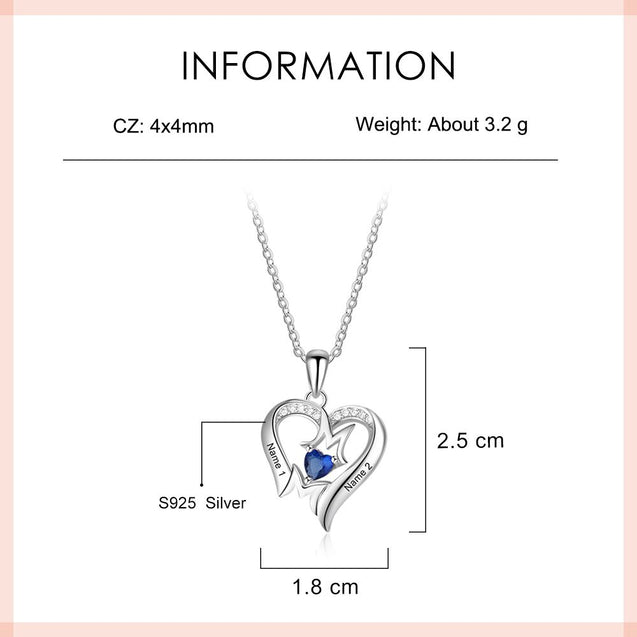 Mother Necklace Heart Pendant with 1 Birthstone Engraved 2 Names Mom Necklace