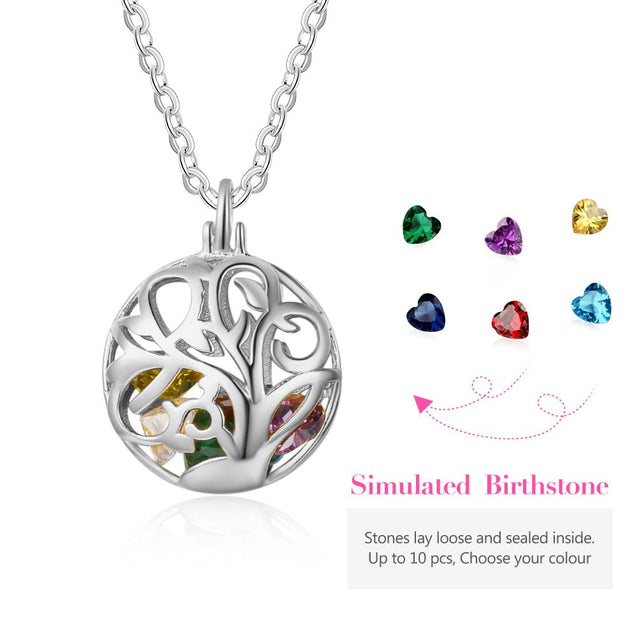 Round Cage Necklace with Birthstones Family Tree Personalized Cage Pendant Locket Necklace