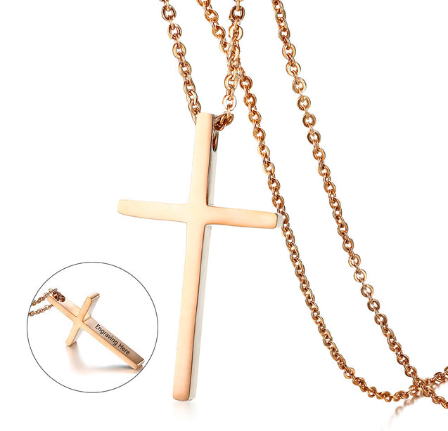Cross pendant necklace rose gold gift for women