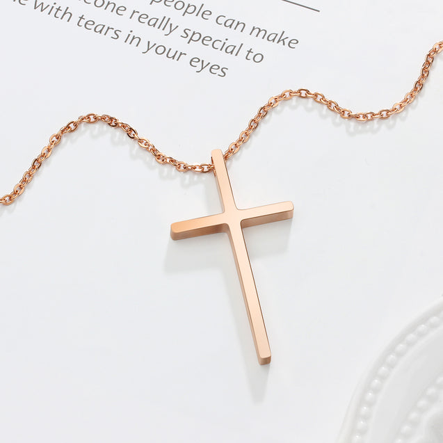 Cross pendant necklace rose gold