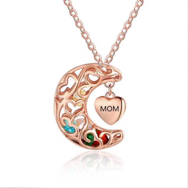 Moon Cage Necklace Heart Mother Necklace Personalized with Birthstones Christmas Gifts for Mom