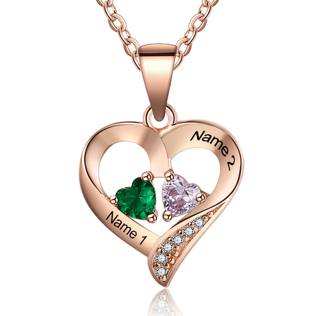 Heart Necklace Personalized with 2 Birthstones Engraved 2 Names Love Necklace