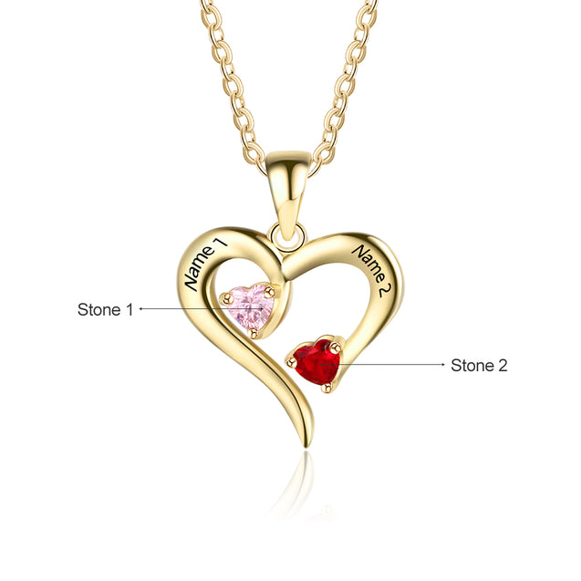 love heart birthstone necklace gift for women