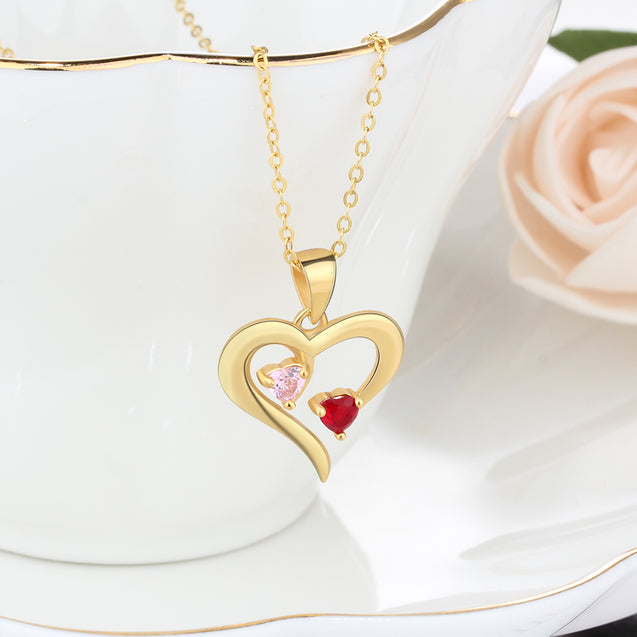 love heart pendant birthstone necklace gift for women Gold Plated