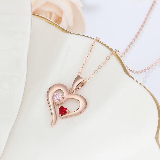 Heart Necklace Love Necklace Personalized with 2 Birthstones Pendant Gold Best Mother Gift