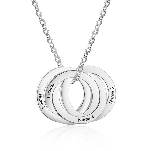 Interlocking Necklace Engraved 3 Names Personalized Circle Name Necklace Custom Gift For Mother