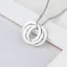 Interlocking Necklace Engraved 3 Name Necklace Gift For Her Silver