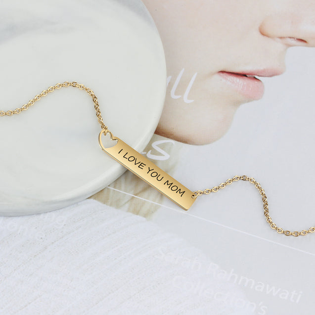 Engraved Name Necklace bar necklace gift for friends Gold