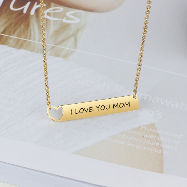 Engraved Name Neckalce Bar Necklace with Heart Gift for Her 18K Gold Plated