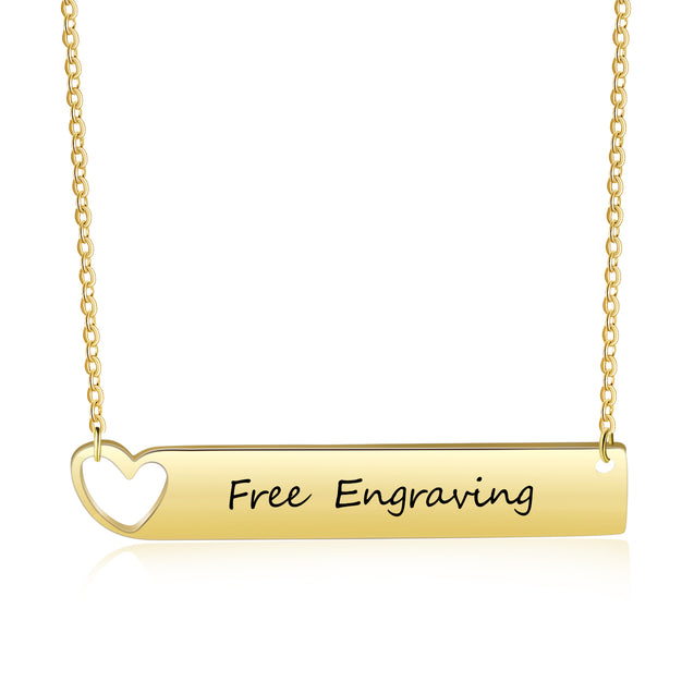 Engraved Name Neckalce Bar Necklace with Heart Gift Gold