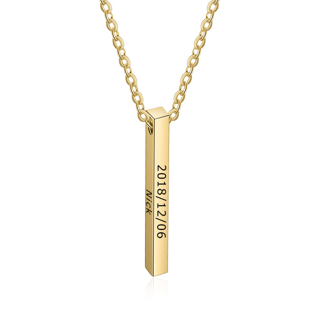 Personalized Vertical Bar Necklace Custom Four Sides Engraved 4 Names 3D Bar Pendant Necklace