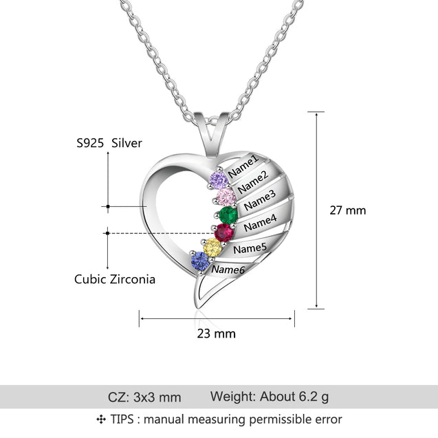 Personalized Birthstone Necklace 6 Stones 6 Names Heart Shape Engraved Mom Necklace Mother's Day Gift